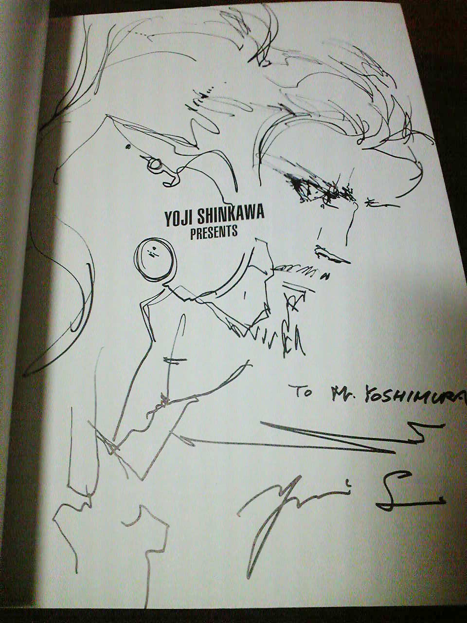 A picture of Sam that Shinkawa-san drew for me in an artbook during our meeting!