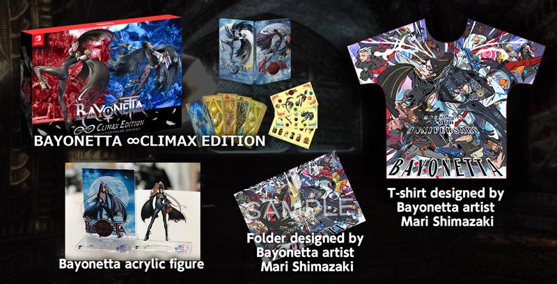 Bayonetta ∞ CLIMAX EDITION signed by Hideki Kamiya, Bayonetta acrylic figure & t-shirt/folder set designed by Mari Shimazaki!